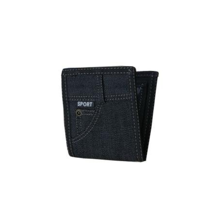 Denim Pocket Designs - Blue Jean Denim Dark Blue Color Wallet with Pocket Design on outside Men Woman Billfold A-BB-11