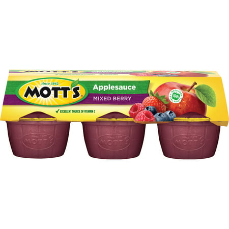 (3 Pack) Mott's Applesauce Cups, Mixed Berry, 4 Oz, 6 Count