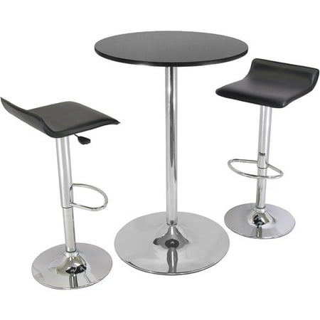 Airlift Adjustable 3 Piece Pub Set with Larger Table, Black and Chrome Black Pub Table Sets