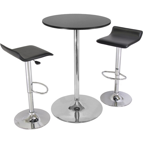 Airlift Adjustable 3 Piece Pub Set with Larger Table, Black and Chrome