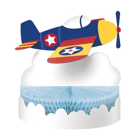 Club Pack of 6 Yellow and Blue Flyer Airplane Centerpiece Honey Comb Shaped 13