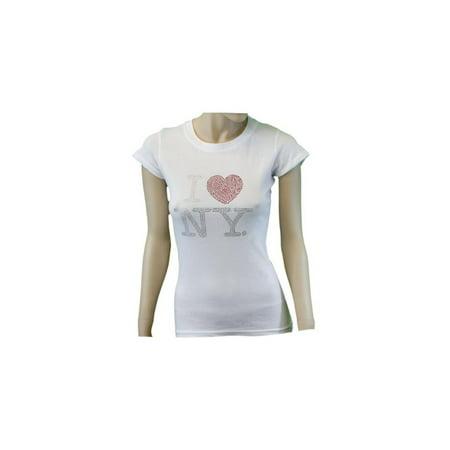 Small I Love Ny White Womens Rhinestone T-Shirt Ladies Tee