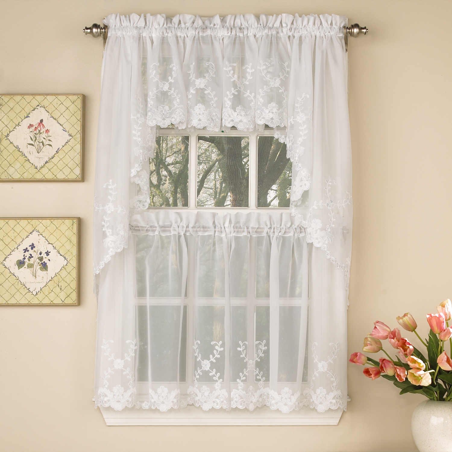 "Laurel Leaf Sheer Voile Embroidered Kitchen Curtains 24"", 36"" Tier Pair, 38"" Swag Pair or 12"" Valance"