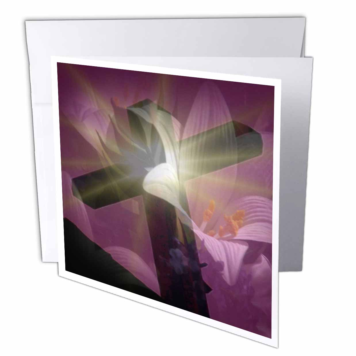 3dRose Christian Cross and Lily , Greeting Cards, 6 x 6 inches, set of 12