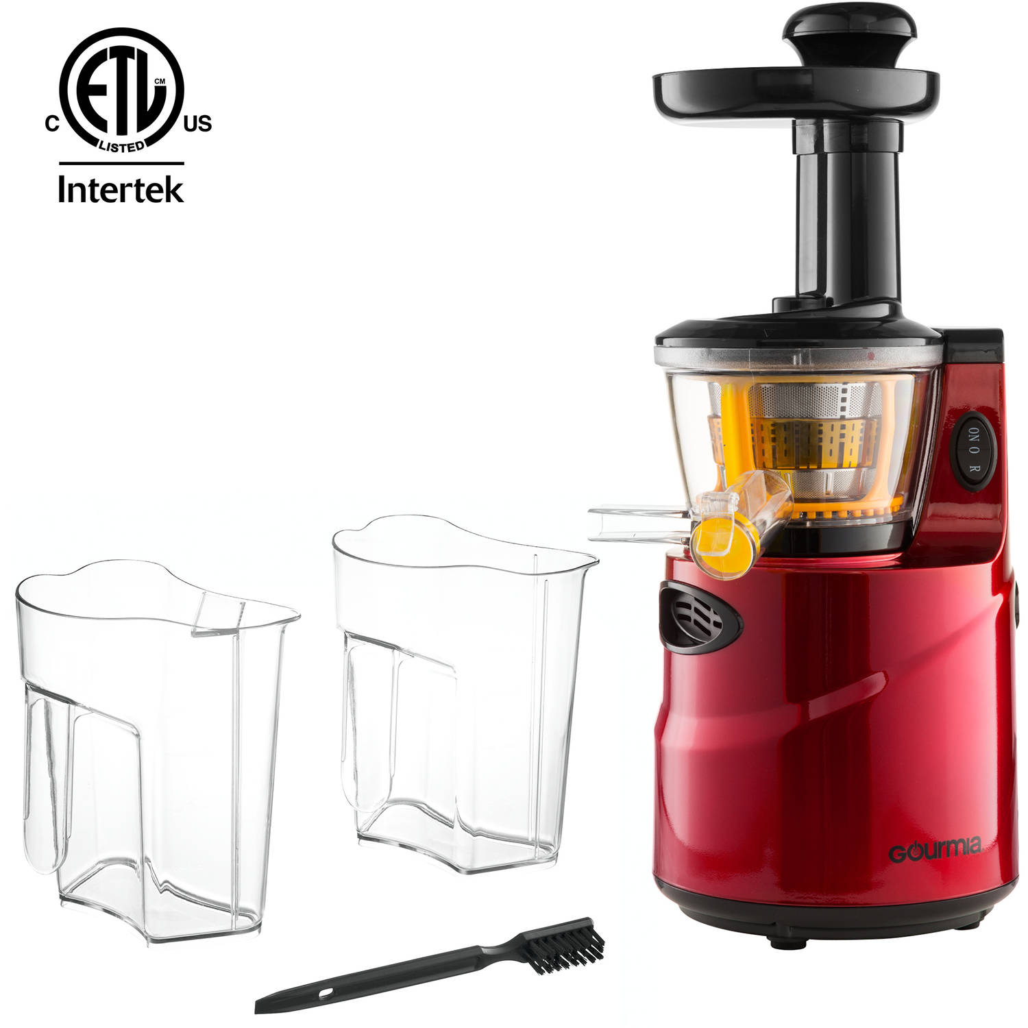 Gourmia GSJ-200 Masticating Slow Juicer, Max Nutrient Fruit and Vegetable Juice, Red