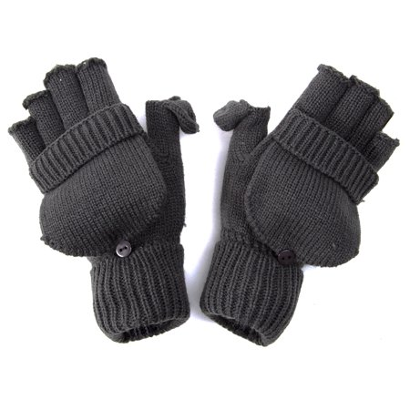 Knitting Pattern Fingerless Gloves With Flap : Winter Fingerless Flap Knit Mitten Gloves - Dark Grey ...