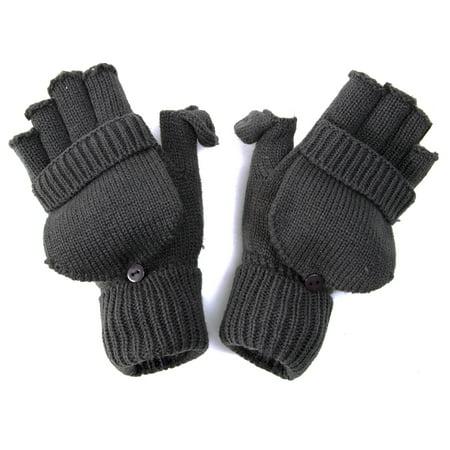 Knitting Pattern For Fingerless Gloves With Flap : Winter Fingerless Flap Knit Mitten Gloves - Dark Grey - Walmart.com