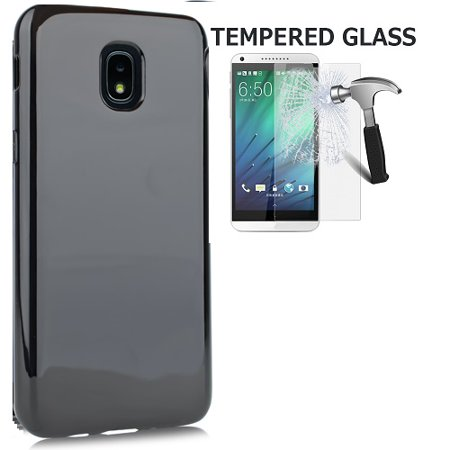 Phone Case for Samsung Galaxy J3 Star, J3 (2018), Gel Flex Cover Case + Tempered Glass Screen Protector (Frosted (Star Protector Case)