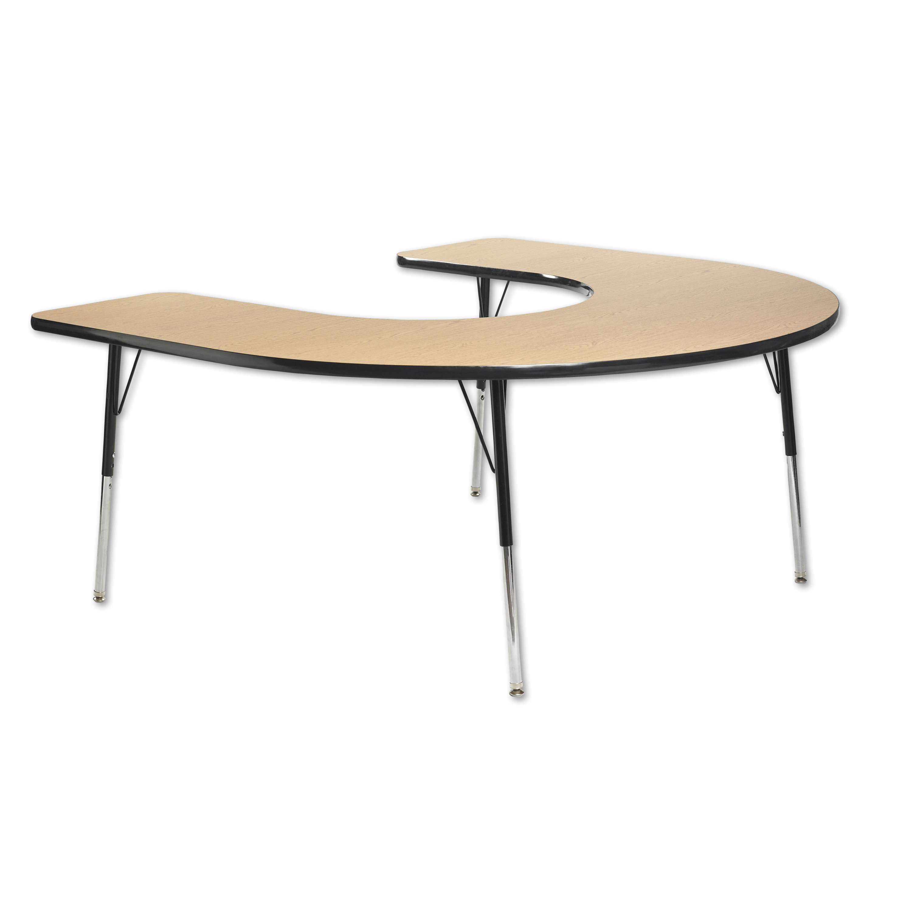 60in x 66in Horseshoe Everyday T Mold Adjustable Activity Table Oak