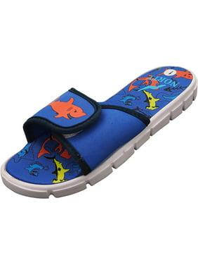 NORTY Boys Girls Unisex Slide Strap Sports Shower Beach Pool Sandal - 5 Colors - Runs One Size Small, 40700 Royal / 1MUSLittleKi