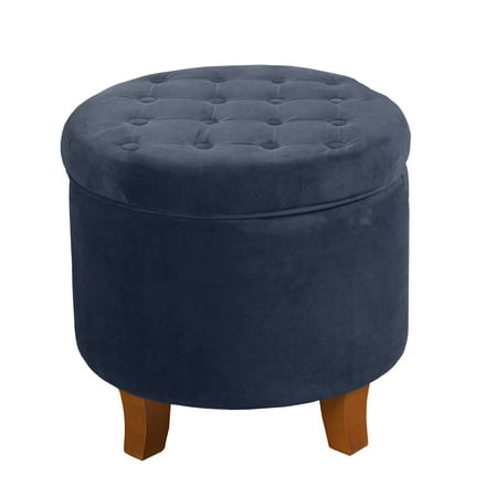 Cool Large Round Storage Ottoman Navy Homepop Brickseek Gmtry Best Dining Table And Chair Ideas Images Gmtryco