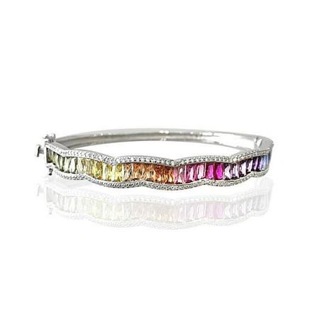 Sterling Silver Multi-Baguette CZ Bangle Bracelet
