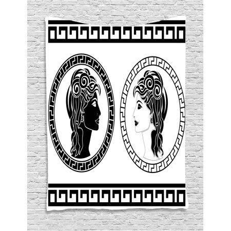 Toga Party Tapestry, Roman Aristocrat Woman Profiles Circular Classical Frames Hairstyle Beauty, Wall Hanging for Bedroom Living Room Dorm Decor, Black White, by Ambesonne (Roman Toga)