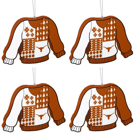 NCAA Texas Longhorns Foam Ugly Sweater Christmas Ornament Bundle 4 Pack By Forever Collectibles