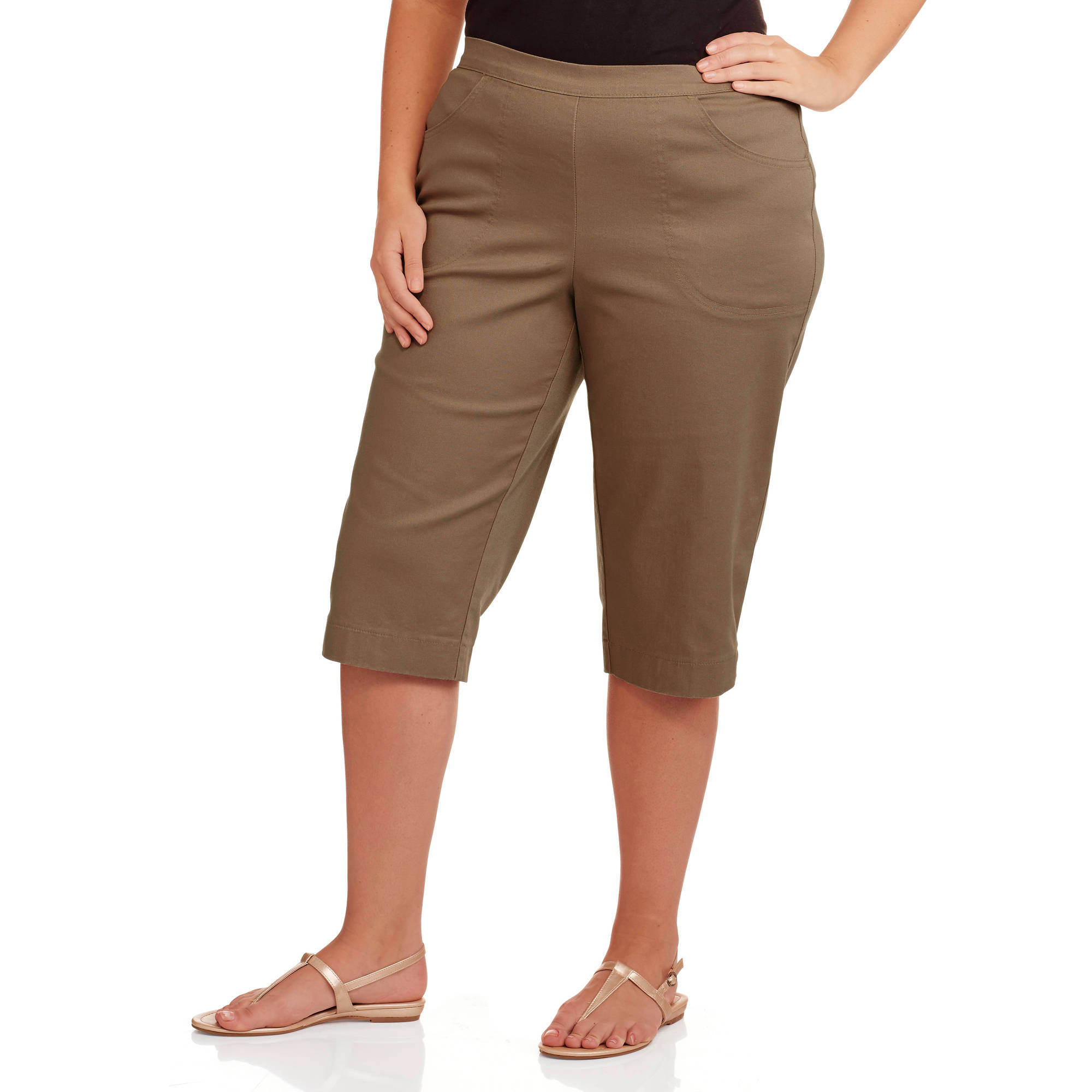 Just My Size Women's Plus Size Pull On 17in Stretch Capris with 2 ...