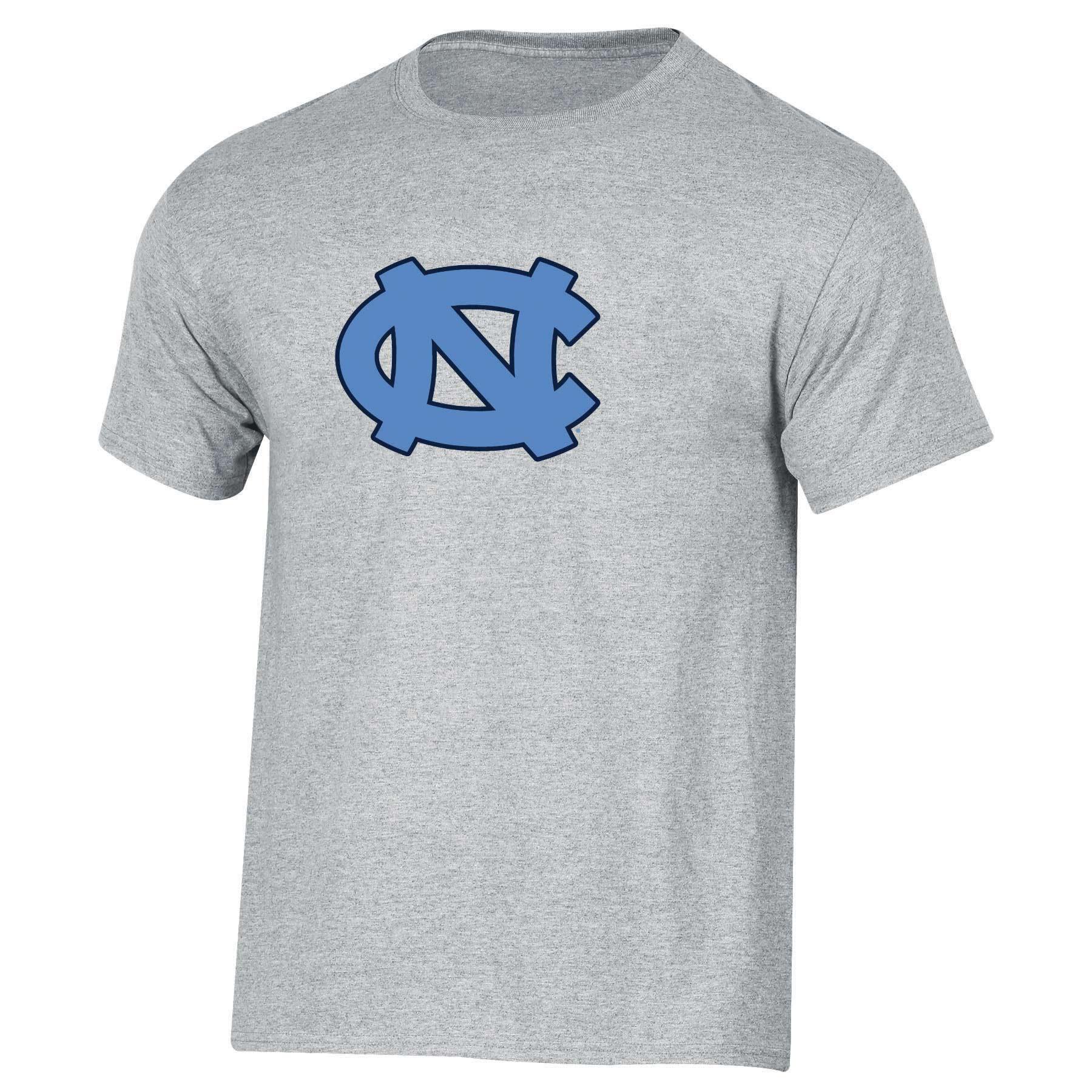 Men's Russell Heathered Gray North Carolina Tar Heels Crew Primary Logo T-Shirt