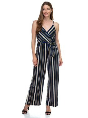 OFASHIONUSA Womens Sleeveless Stripe Waist Tie Jumpsuit-Navy/Yellow-M