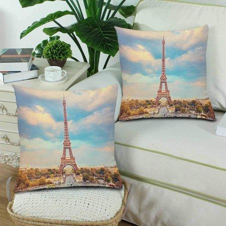 GCKG Eiffel Tower Summer Sunny Evening Paris Throw Pillow Covers 18x18 inches Set of 2 - image 2 de 3