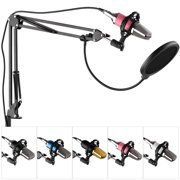 Professional Broadcasting Studio Recording Condenser Microphone Kit with Mic Windscreen + Shock Mount + Adjustable Suspension Scissor Arm Stand + Mounting Clamp + Filter + Audio Cable