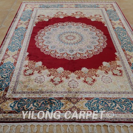 Padparadscha Carpet 5 5X8 Wool And Silk Rug Traditional Oriental Tabriz Floral Persian Hand Knotted Home Carpet Model Ah1186 Lunar Eclipse