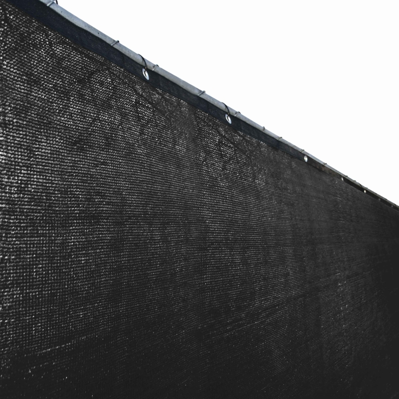 Aleko Privacy Mesh Fabric Screen Fence with Grommets - 6 x 25 Feet - Black