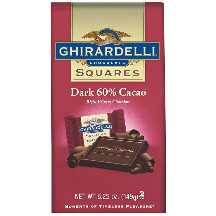 Ghirardelli Chocolate Squares Dark Chocolate 60% Cacao Chocolate 5.25 Oz Stand Up Bag (Pack of 6)