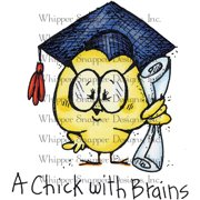 "Whipper Snapper Cling Stamp 4""X6""-Chick With Brains"