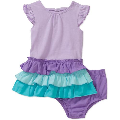 Faded Glory 2 Piece Newborn Girls Ruffle Dress and Bloomer Set
