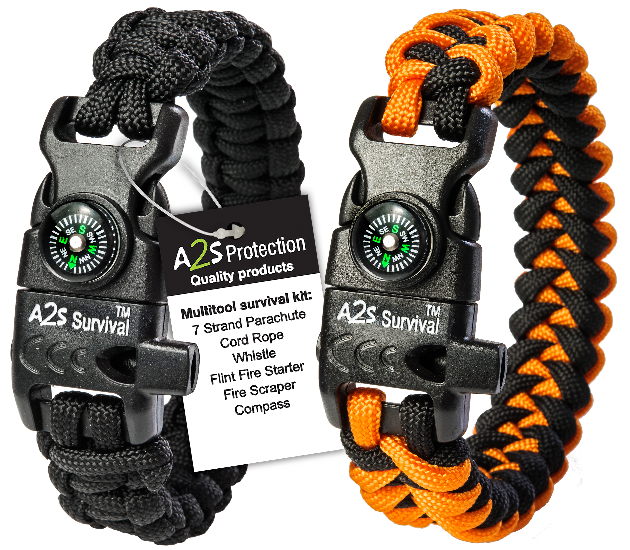 A2S Protection Paracord Bracelet K2-Peak Survival Gear Kit with Embedded Compass, Fire Starter, Emergency Knife & Whistle Black   Orange... by All2shop