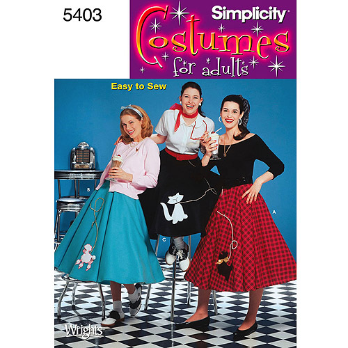 Simplicity Patterns Misses' Poodle Skirts, 14, 16, 18, 20, 22