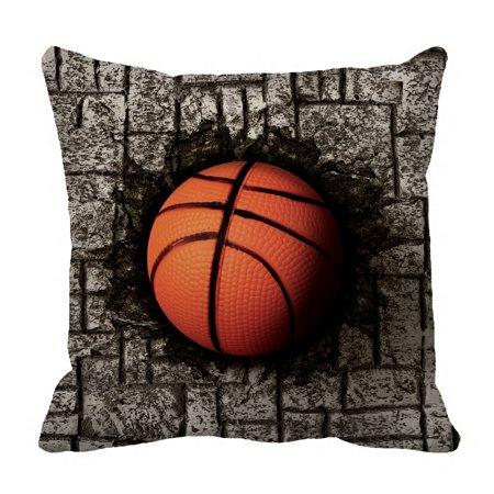 YKCG Basketball Sports Grey Brick Wall Pillowcase Pillow Cushion Case Cover Twin Sides 18x18 (Basketball Pillowcase)