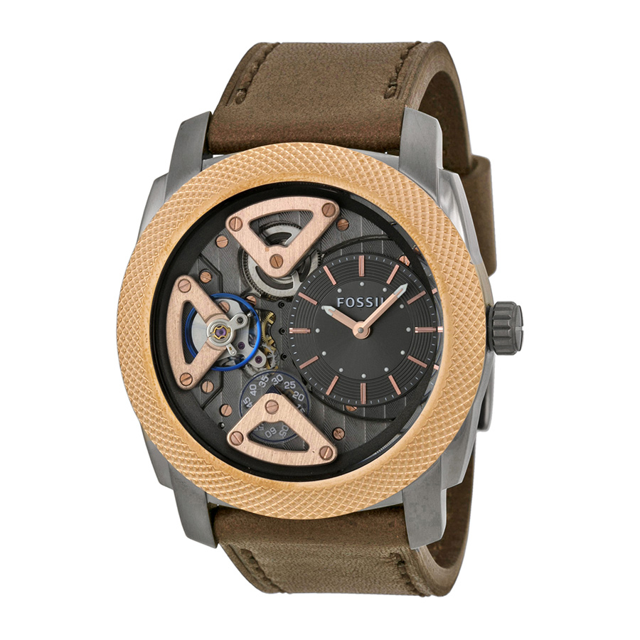 Fossil Men's Mechanical ME1122 Brown Calf Skin Analog Qua...