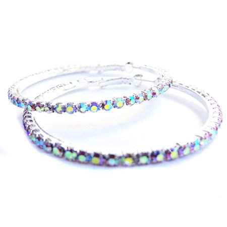 5 Mm Silver Rhinestone - Crystal Rhinestone Silver Tone Hoop Earrings 2 inch Hoops Iridescent ABS