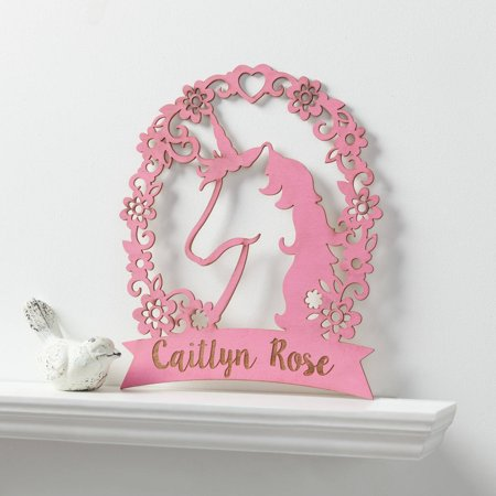 Personalized Pink Unicorn Girls Wood Plaque ()