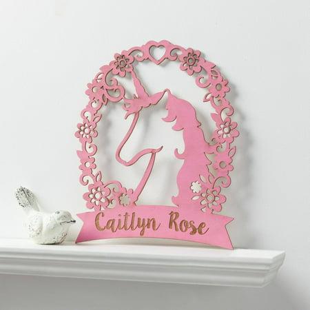 Communion Girl Plaque - Personalized Pink Unicorn Girls Wood Plaque