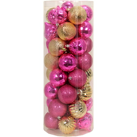 holiday time pinkgold shatterproof christmas ornaments set of 50 - Pink And Gold Christmas Decorations