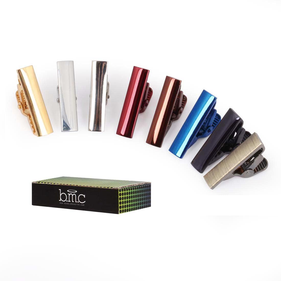 BMC 8pc Mens Fashion Alloy Metal 1 in. Metallic Colored Skinny Tie Bar Half Clips