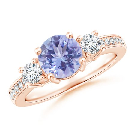 December Birthstone Ring - Classic Three Stone Tanzanite and Diamond Ring in 14K Rose Gold (7mm Tanzanite) - SR0155T-RG-A-7-7.5