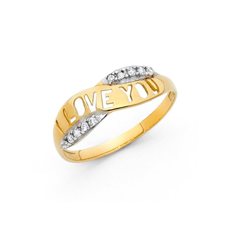 14k Two Tone Italian Solid Gold 6mm Cut Out I Love You Band CZ Ring Size 9.5 Available All Sizes