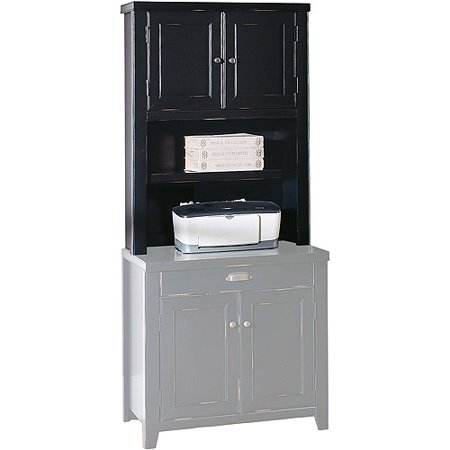 Midtown Door Hutch for Laptop Station or 2-Drawer Lateral File Cabinet, Black Rubbed Finish