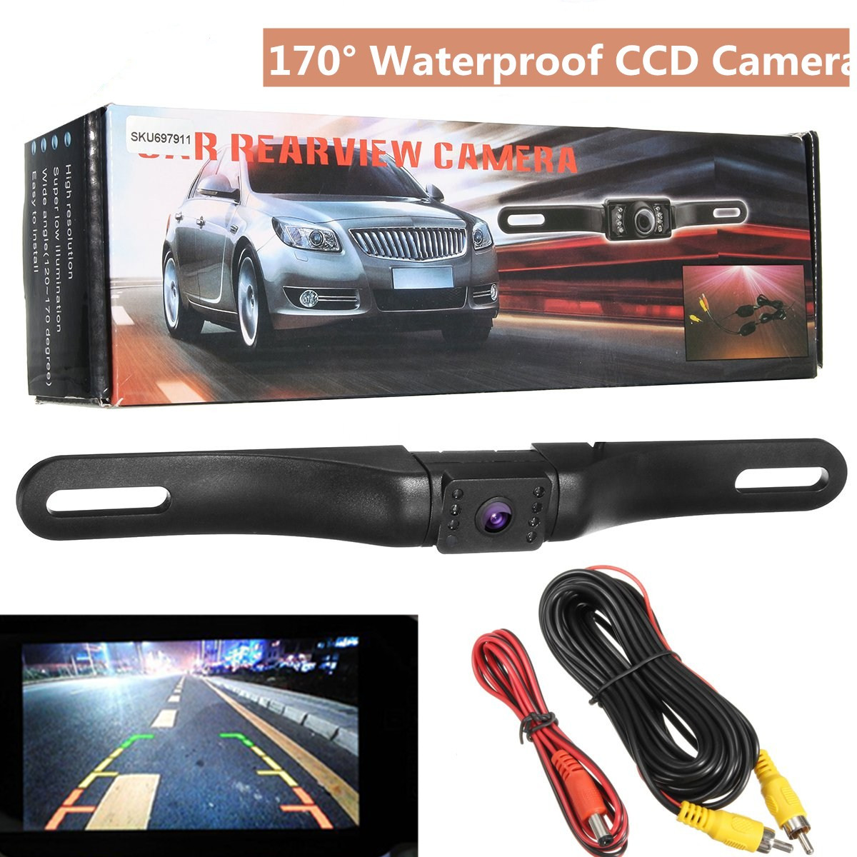 170° Wide Angle Night Vision License Plate Rear View Camera - Built-in Distance Scale Lines Backup Parking/Reverse Assist Waterproof Cam w/ 520 TVL Resolution & RCA Output Black