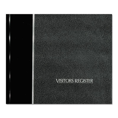 Visitor Register Book, Black Hardcover, 128 Pages, 8 1 2 x 9 7 8, Sold as 1 Each by
