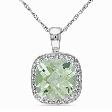 10k Gold Green Amethyst and 1/10ct TDW Diamond Necklace (I-J, I1-I2) 10k White Gold Green