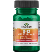 Swanson Vitamin B-12 with Folate - Strawberry 60 Lozenges