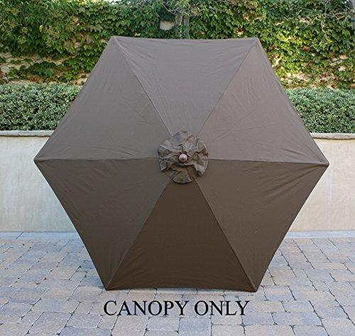 Formosa Covers 9ft Umbrella Replacement Canopy 6 Ribs in Cocoa (Canopy Only)