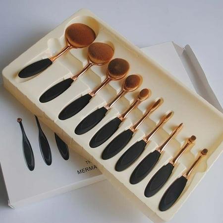 10pcs/set Beauty Toothbrush Makeup Brushes Set Oval Cream Puff Kabuki Brush - image 4 of 5