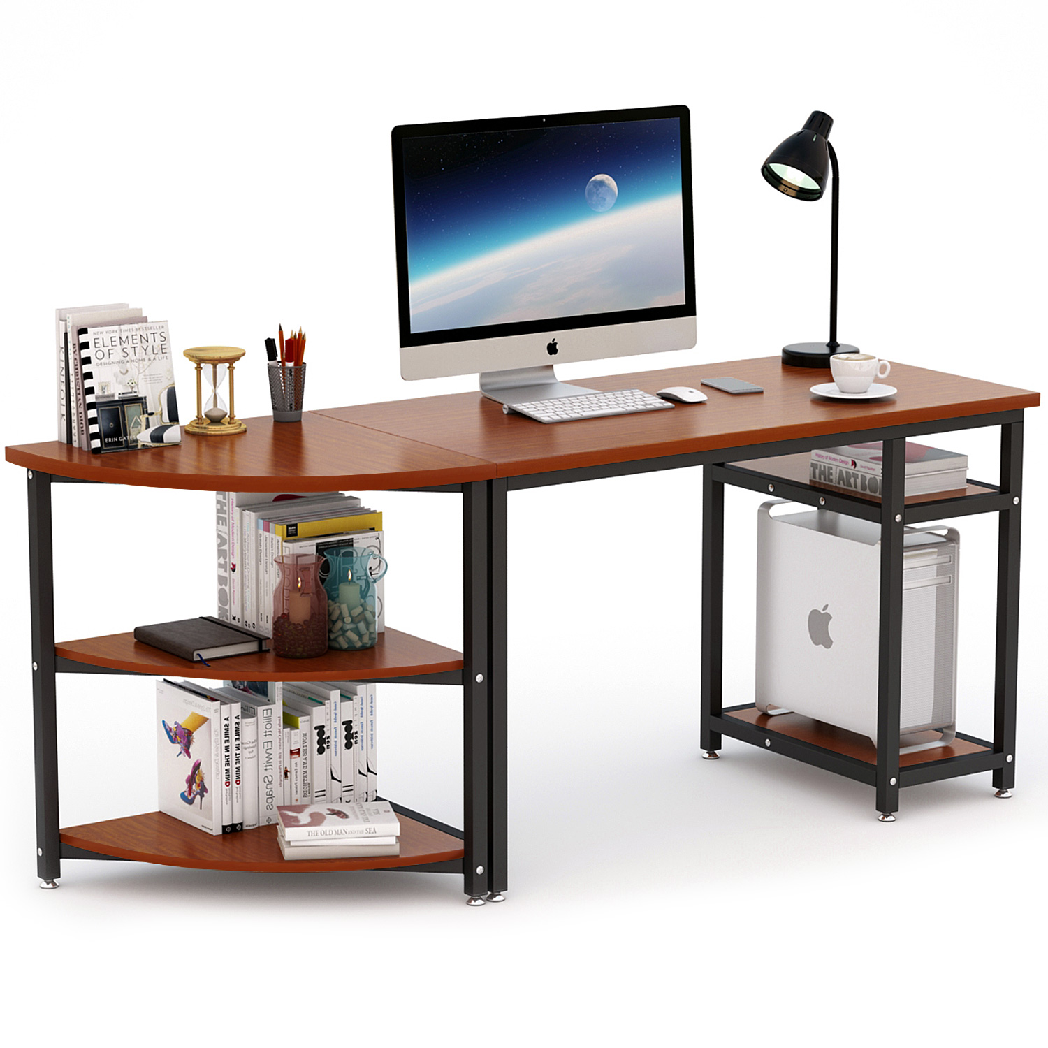 """70"""" Computer Desk With Shelves, Tribesigns Modern 47"""