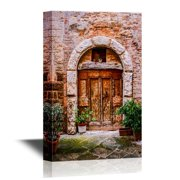 wall26 Doors Canvas Wall Art - Old Doors of Tuscany Italy - Gallery Wrap Modern Home Decor   Ready to Hang - 32x48 inches
