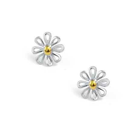 Simple Tiny Flower Daisy Stud Earrings For Teen For Women Two Tone 14K Gold Plated 925 Sterling Silver - image 2 de 5