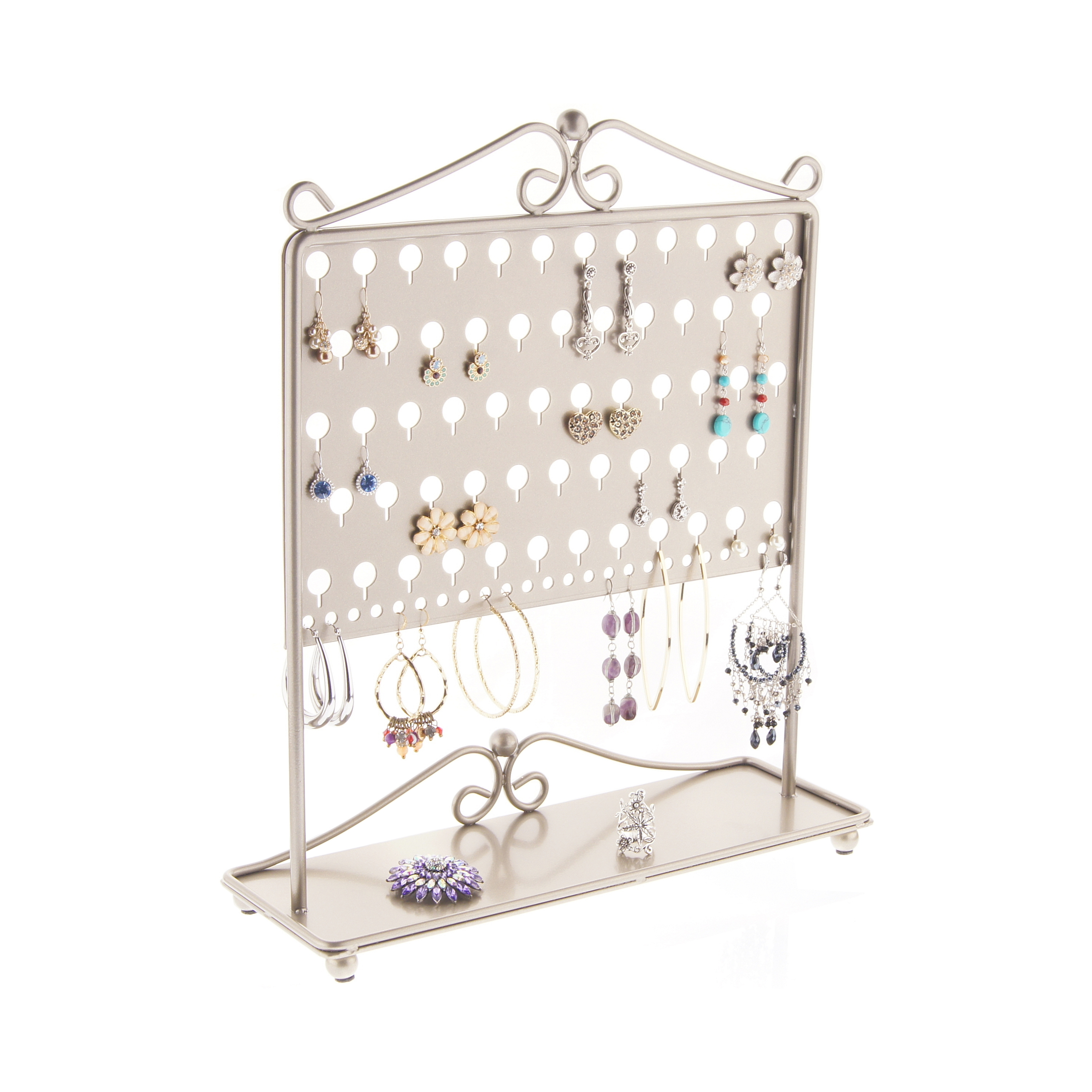 Earring Holder Stand Jewelry Organizer Display Storage Rack with Tray, Angelynn's Ginger Earring Angel Satin... by Angelynn's Jewelry Organizers
